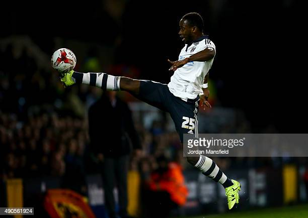 Moussa Dembele of Fulham reaches for a ball during the Sky Bet Football League Championship match between Fulham and Wolverhampton Wanderers at...