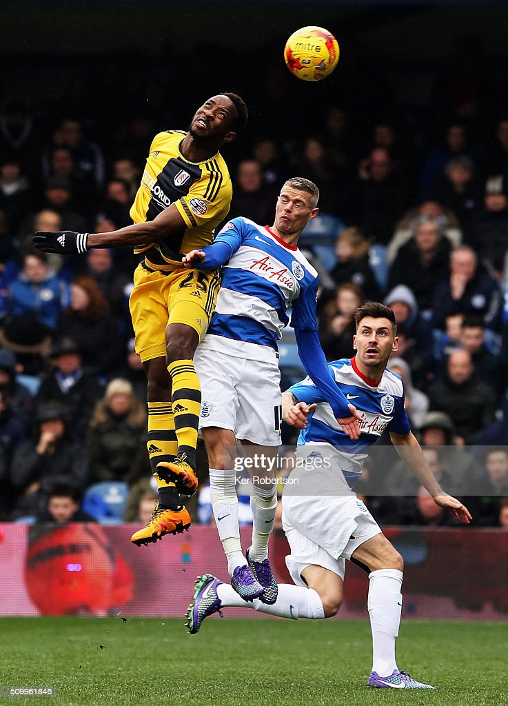 Moussa Dembele of Fulham rises above Paul Konchesky of Queens Park Rangers during the Sky Bet Championship match between Queens Park Rangers and Fulham at Loftus Road on February 13, 2016 in London, United Kingdom.