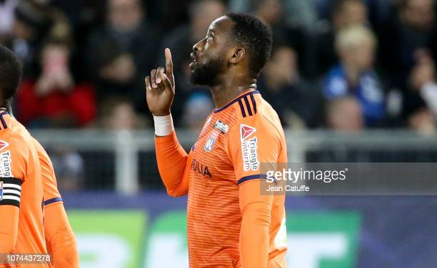 Moussa Dembele of Lyon celebrates his goal during the french League Cup at Stade de la Licorne on December 19 2018 in Amiens France