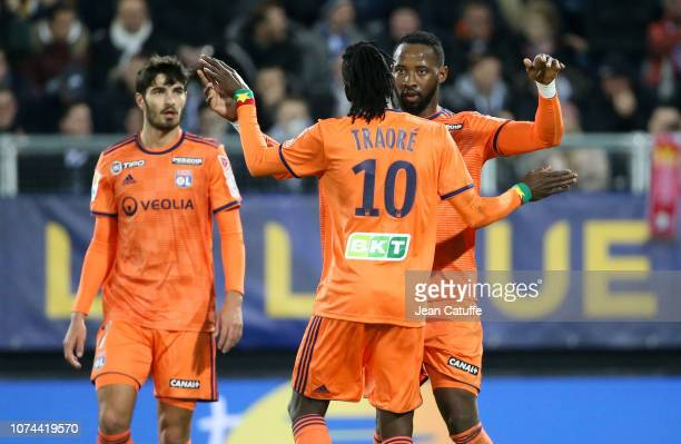Moussa Dembele of Lyon celebrates his goal on a penalty kick during the french League Cup at Stade de la Licorne on December 19 2018 in Amiens France