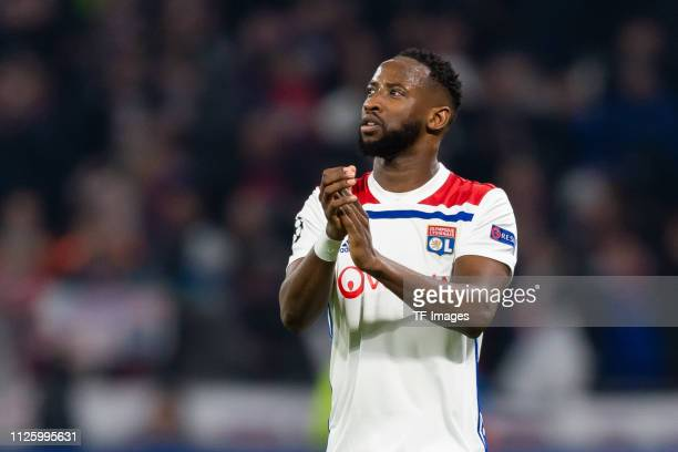 Moussa Dembele of Olympique Lyon looks on during the UEFA Champions League Round of 16 First Leg match between Olympique Lyonnais and FC Barcelona at...
