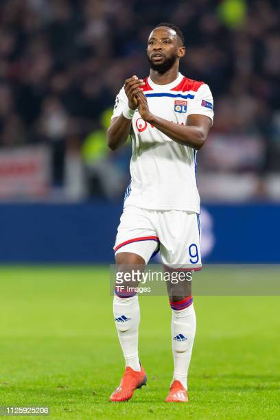 Moussa Dembele of Olympique Lyonnais looks on during the UEFA Champions League Round of 16 First Leg match between Olympique Lyonnais and FC...