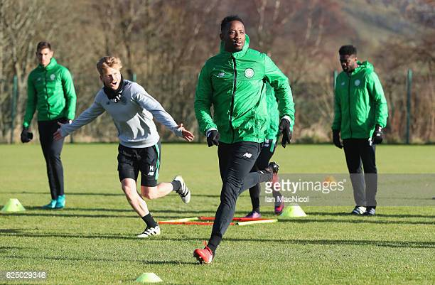 Moussa Dembele performs drills with team mates during a Celtic training session on the eve of their UEFA Champions League match against Barcelona at...