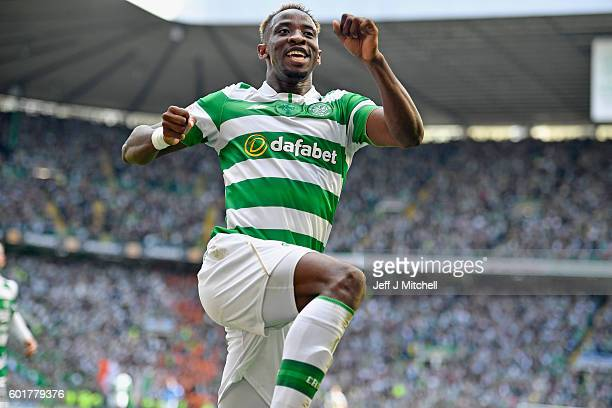 Moussa Dembelle of Celtic celebrates after scoring his third goal during the Ladbrokes Scottish Premier league match between Celtic and Rangers at...