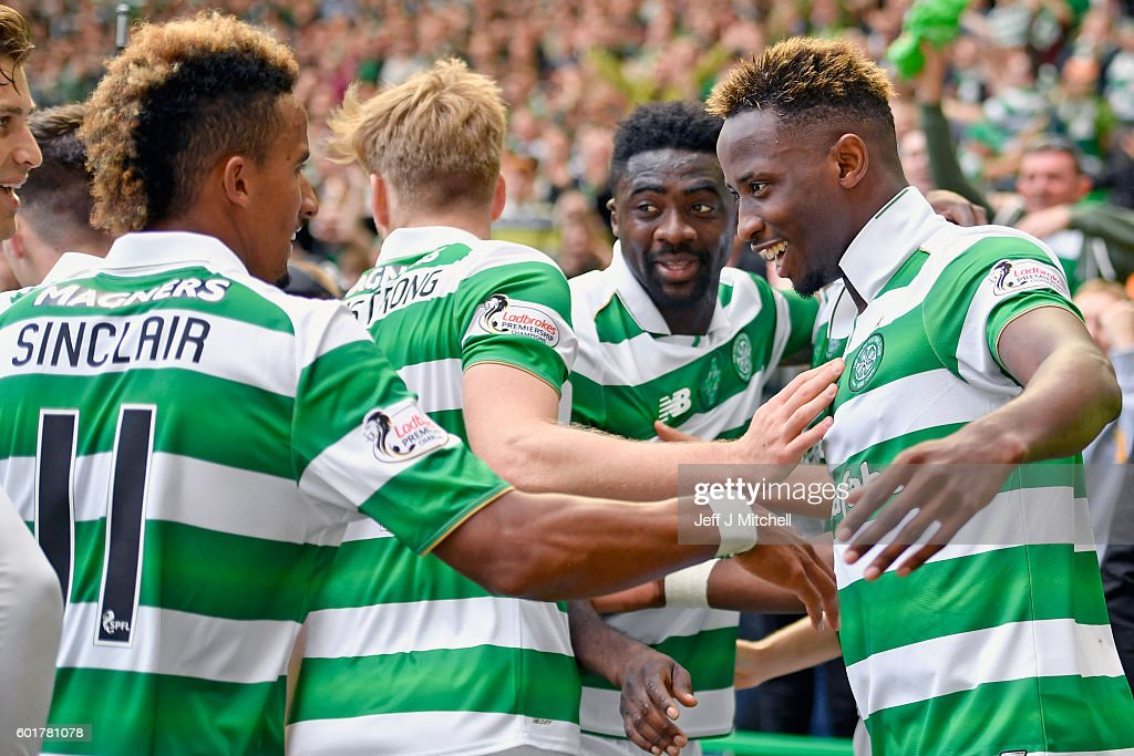 Moussa Dembelle of Celtic celebrates after scoring his third goal during the Ladbrokes Scottish Premier league match between Celtic and Rangers at Celtic Park Stadium on September 10, 2016 in Glasgow, Scotland.
