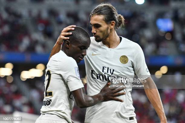 Moussa Diaby and Yacine Adli of Paris Saint Germain celebrates during the International Champions Cup match between Paris Saint Germain and Clu b de...
