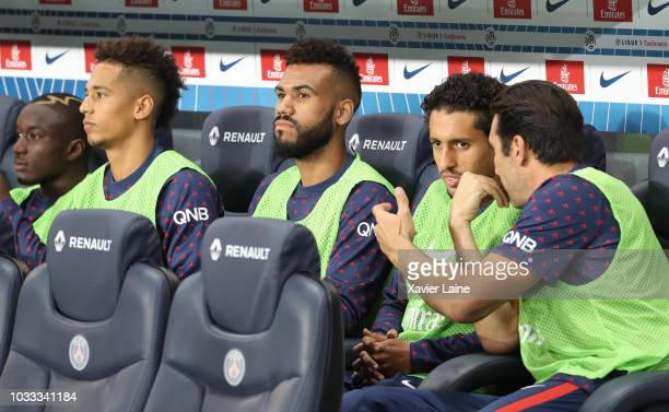 Moussa Diaby Jan Thilo Kehrer Eric Choupo Moting Marquinhos and Gianluigi Buffon of Paris SaintGermain react during the French Ligue 1 match between...