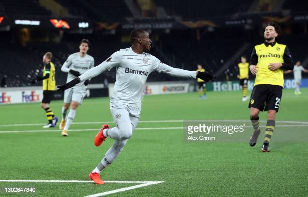 Moussa Diaby of Bayer 04 Leverkusen celebrates after scoring their sides third goal during the UEFA Europa League Round of 32 match between BSC Young...