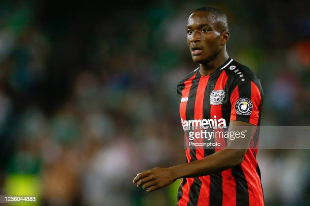 Moussa Diaby of Bayer 04 Leverkusen during the UEFA Europa League match between Real Betis and Bayer 04 Leverkusen played at Benito Villamarin...