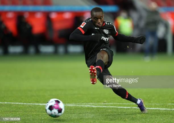 Moussa Diaby of Bayer 04 Leverkusen scores their side's first goal during the Bundesliga match between Bayer 04 Leverkusen and Borussia Dortmund at...