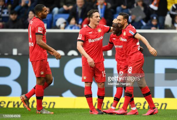 Moussa Diaby of Bayer Leverkusen celebrates after scoring his sides first goal during the Bundesliga match between TSG 1899 Hoffenheim and Bayer 04...
