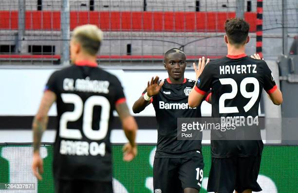 Moussa Diaby of Bayer Leverkusen celebrates after scoring his sides first goal during the UEFA Europa League round of 16 second leg match between...