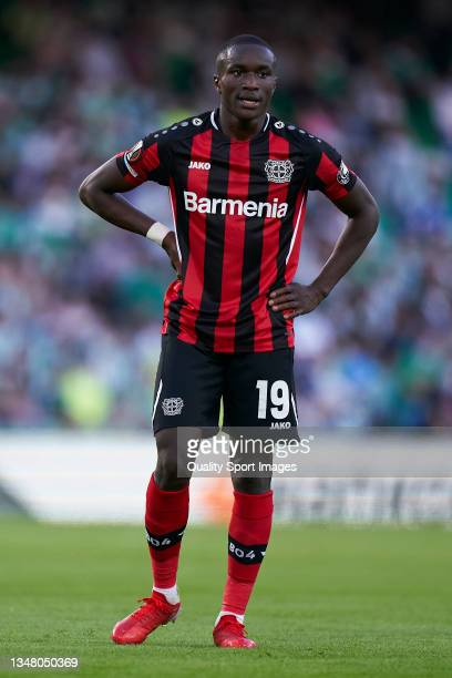 Moussa Diaby of Bayer Leverkusen looks on during the UEFA Europa League group G match between Real Betis and Bayer Leverkusen at Estadio Benito...