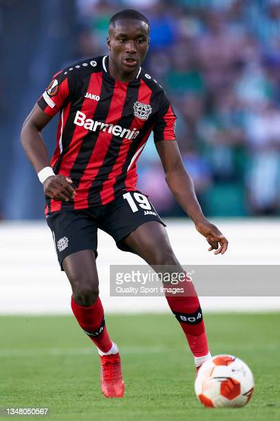 Moussa Diaby of Bayer Leverkusen runs with the ball during the UEFA Europa League group G match between Real Betis and Bayer Leverkusen at Estadio...