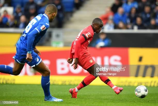 Moussa Diaby of Bayer Leverkusen scores his sides first goal during the Bundesliga match between TSG 1899 Hoffenheim and Bayer 04 Leverkusen at...