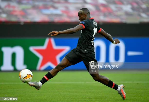 Moussa Diaby of Bayer Leverkusen scores his sides first goal during the UEFA Europa League round of 16 second leg match between Bayer 04 Leverkusen...