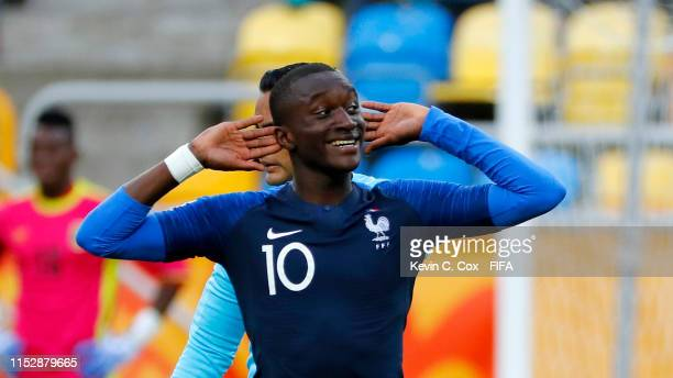 Moussa Diaby of France celebrates after scoring his team's second goal during the 2019 FIFA U20 World Cup group E match between Mali and France at...