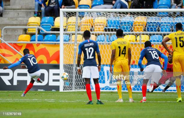 Moussa Diaby of France scores his team's second goal during the 2019 FIFA U-20 World Cup group E match between Mali and France at Gdynia Stadium on...