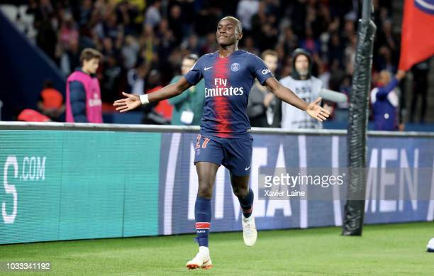 Moussa Diaby of Paris SaintGermain celebrate his goal during the French Ligue 1 match between Paris Saint Germain and AS Saint Etienne on September...