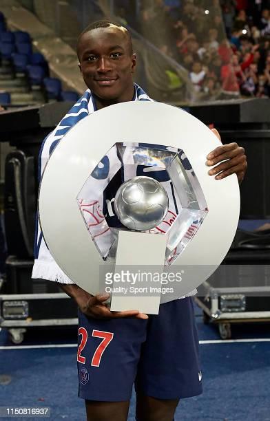 Moussa Diaby of Paris SaintGermain on the lap of honour following the French Ligue 1 match between Paris SaintGermain and Dijon FCO at Parc des...