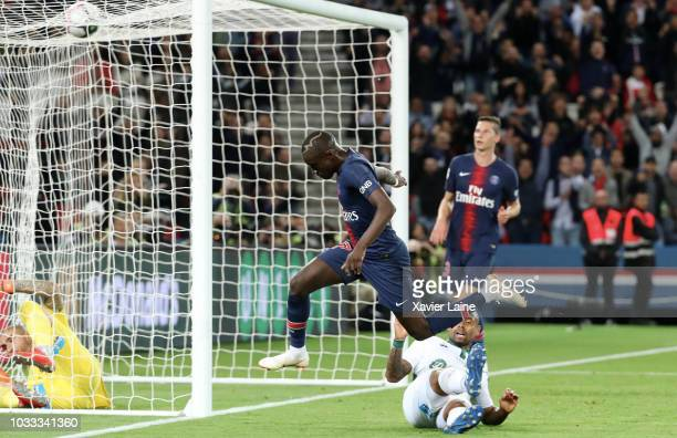 Moussa Diaby of Paris SaintGermain score his first goal during the French Ligue 1 match between Paris Saint Germain and AS Saint Etienne on September...