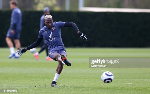 Moussa Djenepo during a Southampton FC training session at the Staplewood Campus on April 08, 2021 in Southampton, England.