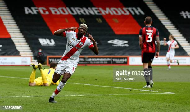 Moussa Djenepo of Southampton celebrates after opening the scoring during the Emirates FA Cup Quarter Final match between AFC Bournemouth and...