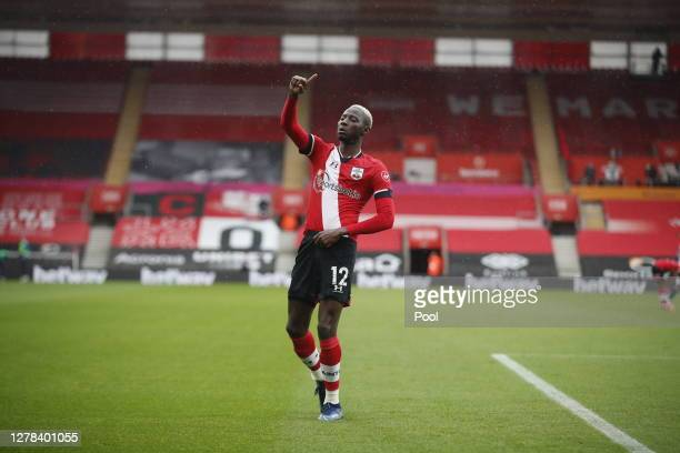 Moussa Djenepo of Southampton celebrates after scoring his sides first goal during the Premier League match between Southampton and West Bromwich...