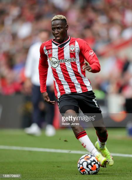 Moussa Djenepo of Southampton during the Premier League match between Southampton and Manchester United at St Mary's Stadium on August 22, 2021 in...