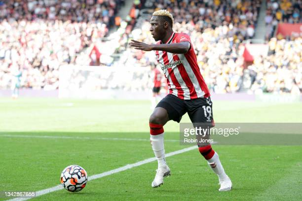 Moussa Djenepo of Southampton during the Premier League match between Southampton and Wolverhampton Wanderers at St Mary's Stadium on September 26,...