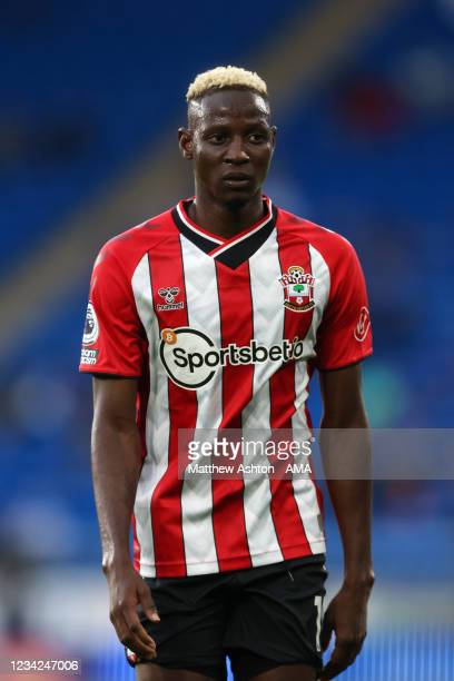Moussa Djenepo of Southampton during the Pre-Season Friendly match between Cardiff City and Southampton at Cardiff City Stadium on July 27, 2021 in...