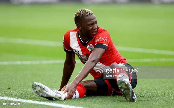 Moussa Djenepo of Southampton gestures during the Premier League match between Southampton and Leeds United at St Mary's Stadium on May 18, 2021 in...