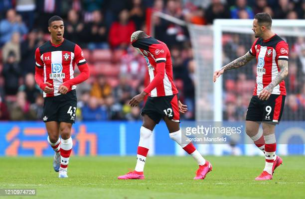 Moussa Djenepo of Southampton reacts after being shown a red card during the Premier League match between Southampton FC and Newcastle United at St...