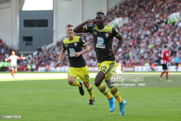 Moussa Djenepo of Southampton scelebrates after scoring a goal to make it 0-1 during the Premier League match between Sheffield United and...