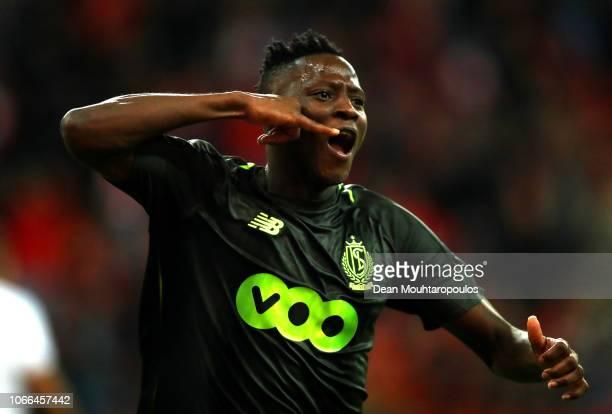 Moussa Djenepo of Standard Liege celebrates after scoring his team's first goal during the UEFA Europa League Group J match between Royal Standard de...