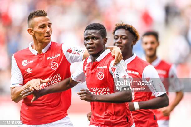 Moussa Doumbia of Reims celebrates his goal during match between Stade de Reims and LOSC Lille on September 1, 2019 in Reims, France.