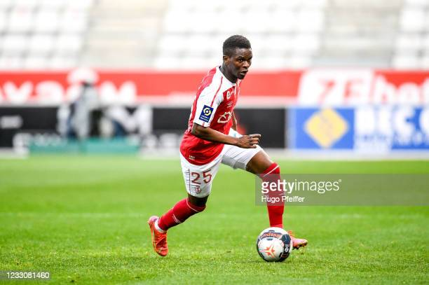 Moussa DOUMBIA of Reims during the Ligue 1 match between Reims and Girondins Bordeaux at Stade Auguste Delaune on May 23, 2021 in Reims, France.