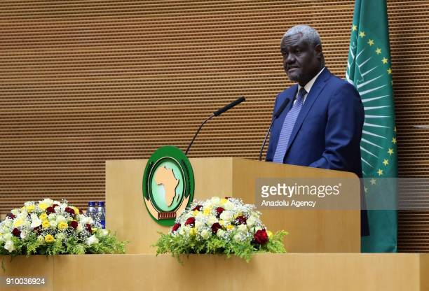 Moussa Faki Mahamat Chairperson of the AU Commission speaks during the 30th African Union Summit in Addis Ababa Ethiopia on January 25 2018