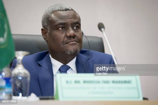 Moussa Faki Mahamat Commissioner of the African Union during a press conference on May 02 2017 in Addis Ababa Ethiopia