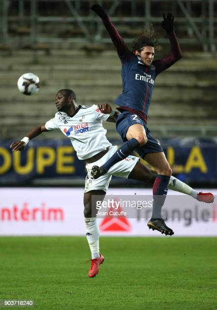 Moussa Konate of Amiens Adrien Rabiot of PSG during the French League Cup match between Amiens SC and Paris Saint Germain at Stade de la Licorne on...