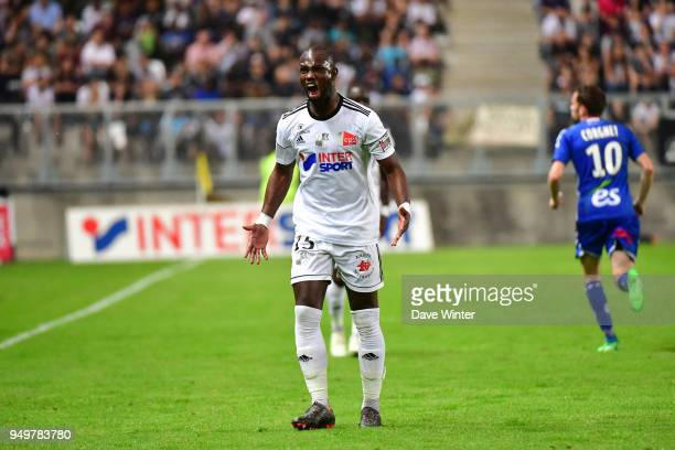Moussa Konate of Amiens reacts during the Ligue 1 match between Amiens SC and Strasbourg at Stade de la Licorne on April 21 2018 in Amiens