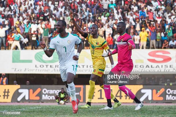 Moussa Konate of Senegal celebrates after scoring the winning goal during a friendly match between Senegal and Mali after both teams qualified for...