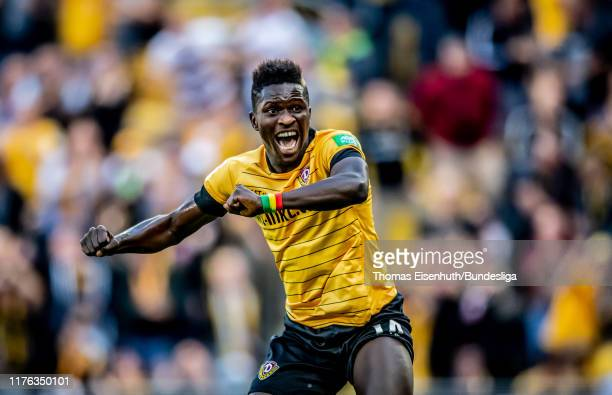 Moussa Kone of Dresden celebrates after his team's first goal during the Second Bundesliga match between SG Dynamo Dresden and SSV Jahn Regensburg at...