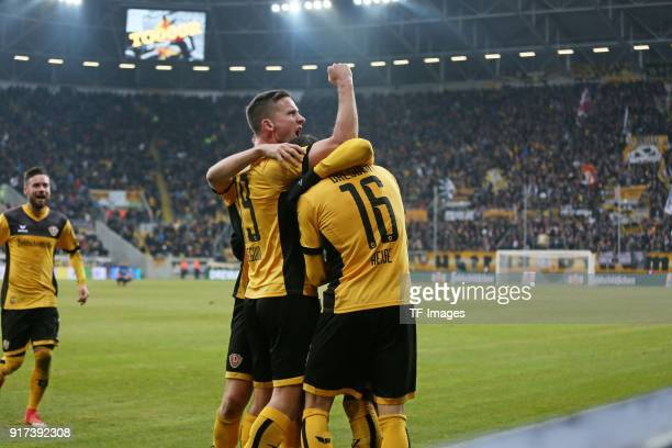 Moussa Kone of Dresden celebrates after scoring his team`s second goal with team mates during the Second Bundesliga match between SG Dynamo Dresden...