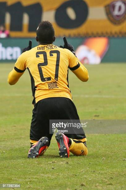 Moussa Kone of Dresden celebrates after scoring his team`s second goal during the Second Bundesliga match between SG Dynamo Dresden and VfL Bochum...