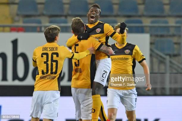 Moussa Kone of Dresden celebrates scoring his teams first goal during the Second Bundesliga match between DSC Arminia Bielefeld and SG Dynamo Dresden...