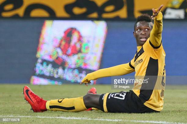 Moussa Kone of Dresden controls the ball during the Second Bundesliga match between SG Dynamo Dresden and 1 FC Heidenheim 1846 at DDVStadion on March...