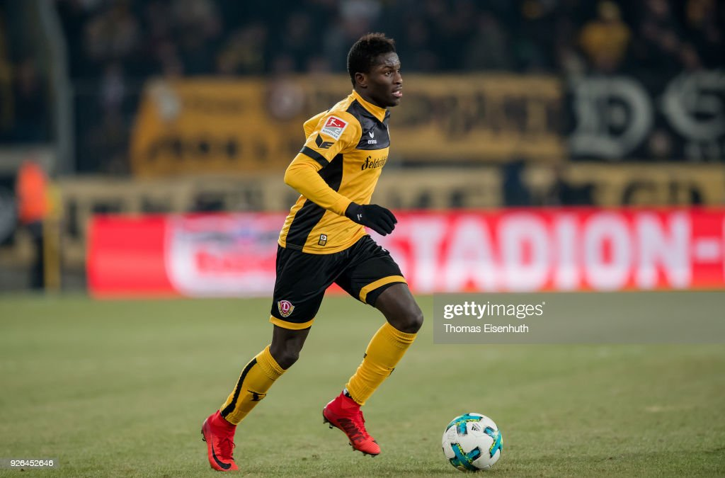 Moussa Kone of Dresden in action during the Second Bundesliga match between SG Dynamo Dresden and SV Darmstadt 98 at DDV-Stadion on March 2, 2018 in Dresden, Germany.