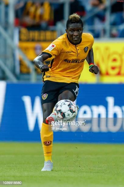 Moussa Kone of Dynamo Dresden controls the ball during the Second Bundesliga match between SSV Jahn Regensburg and SG Dynamo Dresden on September 14...