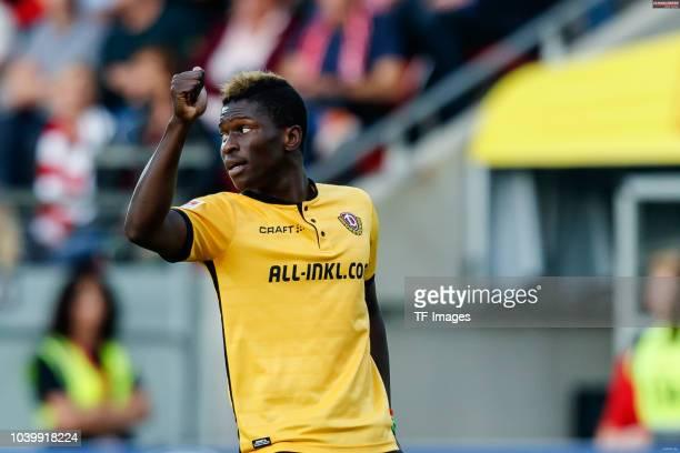Moussa Kone of Dynamo Dresden gestures during the Second Bundesliga match between SSV Jahn Regensburg and SG Dynamo Dresden on September 14 2018 in...